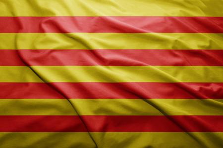 catalonia: Waving colorful Catalonia flag Stock Photo