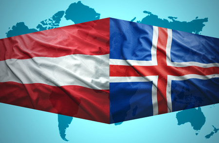 the icelandic flag: Waving Icelandic and Austrian flags of the political map of the world