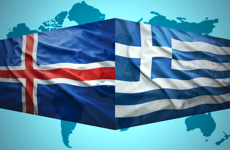the icelandic flag: Waving Icelandic and Greek flags of the political map of the world