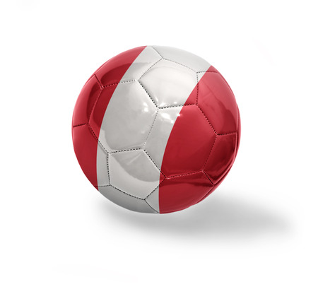 Football ball with the national flag of Peru on a white background photo