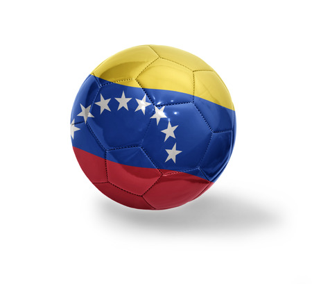Football ball with the national flag of Venezuela on a white background photo