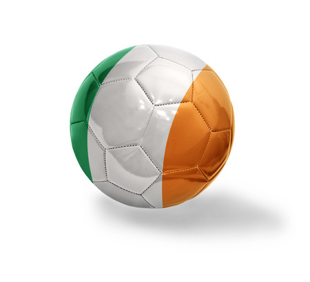 Football ball with the national flag of Ireland on a white background photo