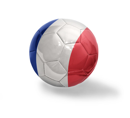 Football ball with the national flag of France on a white background photo