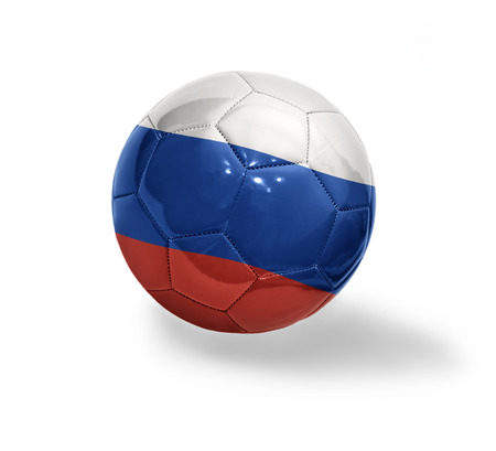 Football ball with the national flag of Russia on a white background photo