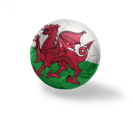 welsh flag: Football ball with the national flag of Wales on a white background Stock Photo