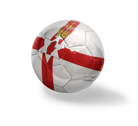 Football ball with the national flag of Northern Ireland on a white background photo