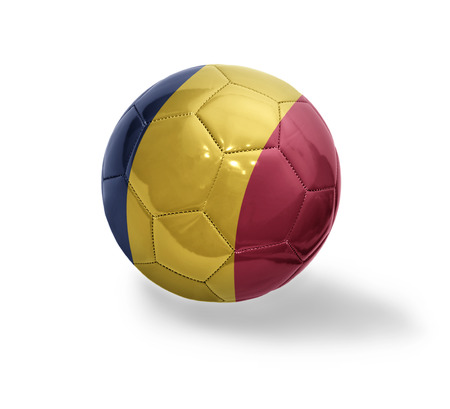 Football ball with the national flag of Chad on a white background Stock Photo