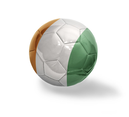 Football ball with the national flag of Cote dIvoire on a white background
