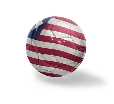 liberia: Football ball with the national flag of Liberia on a white background