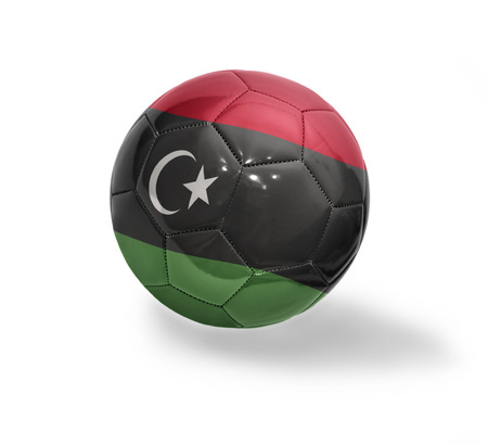 libyan: Football ball with the national flag of Libya on a white background