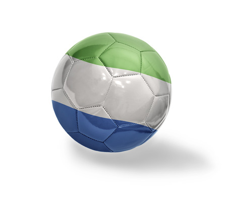 Football ball with the national flag of Sierra Leone on a white background photo