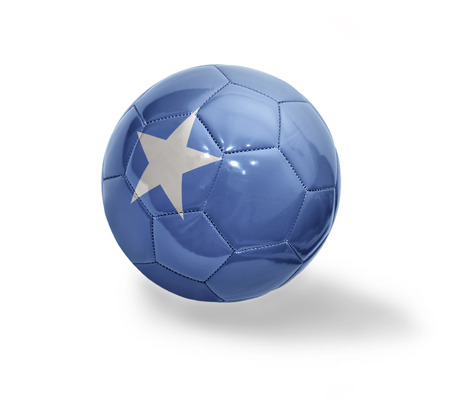 somalian flag: Football ball with the national flag of Somali on a white background
