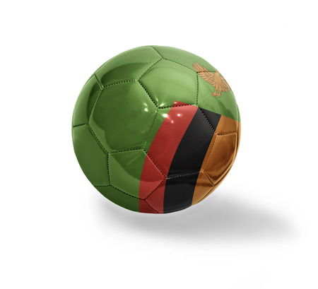zambian: Football ball with the national flag of Zambia on a white background
