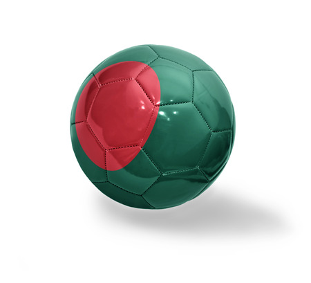 Football ball with the national flag of Bangladesh on a white background photo