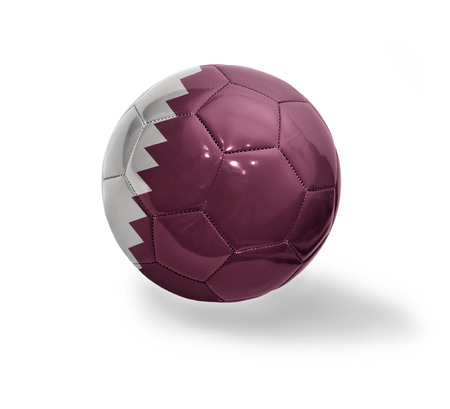 Football ball with the national flag of Qatar on a white background Stock Photo - 31767033