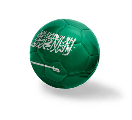 Football ball with the national flag of Saudi Arabia on a white background photo