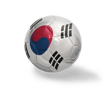 Football ball with the national flag of South Korea on a white background photo
