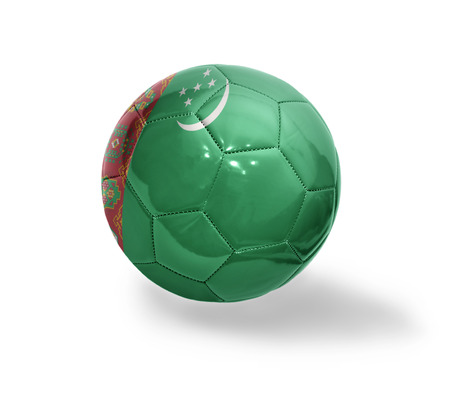 turkmenistan: Football ball with the national flag of Turkmenistan on a white background