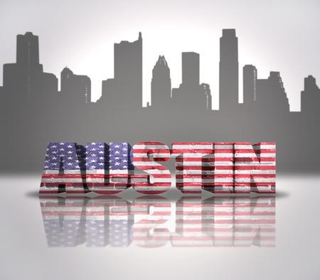 Word Austin with National Flag of USA near skyline silhouette photo