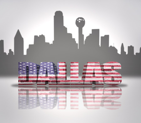 Word Dallas with National Flag of USA near skyline silhouette photo