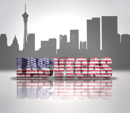 Word Las Vegas with National Flag of USA near skyline silhouette photo