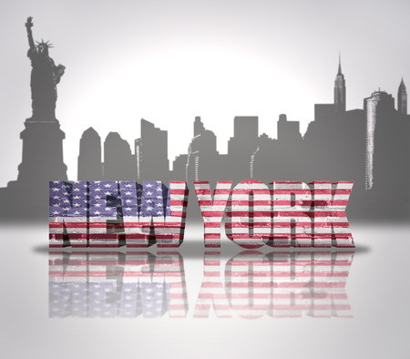 Word New York with National Flag of USA near skyline silhouette photo