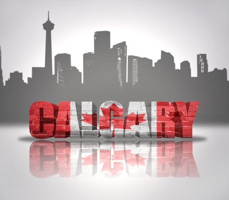 Word Calgary with national flag of Canada near skyline silhouette photo