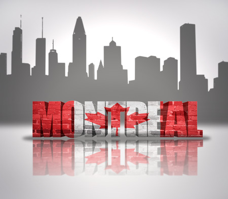 Word Montreal with national flag of Canada near skyline silhouette photo