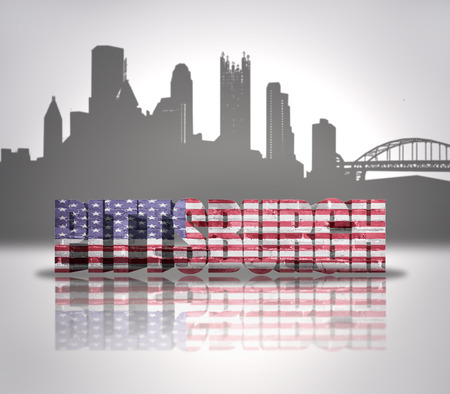 Word Pittsburgh with National Flag of USA near skyline silhouette photo
