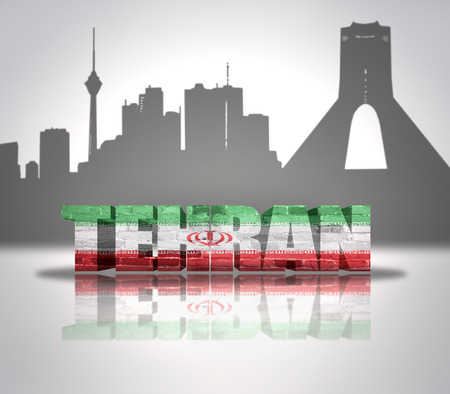 Word Tehran with national flag of Iran near skyline silhouette photo