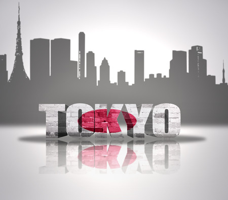 Word Tokyo with national flag of Japan near skyline silhouette photo