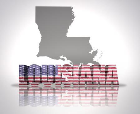 louisiana flag: Word Louisiana with National Flag of USA near map State
