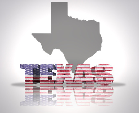 Word Texas with National Flag of USA near map State photo