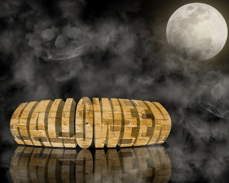 Text Halloween on the black background near full moon photo