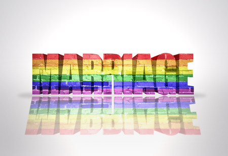 gay marriage: Text Marriage with Rainbow Gay Flag on a white background