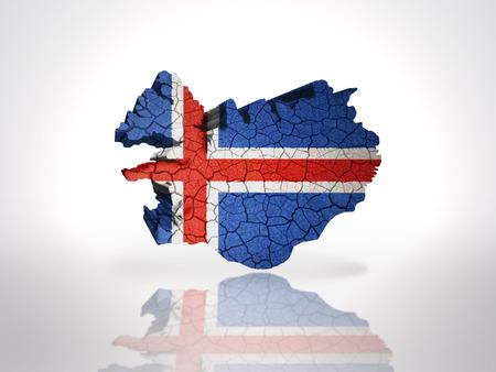 icelandic flag: Mapa de Islandia con la bandera de Islandia sobre un fondo blanco
