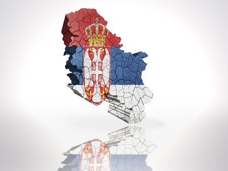 Map of Serbia with Serbian Flag on a white background photo