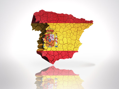 Map of Spain with Spanish Flag on a white background photo
