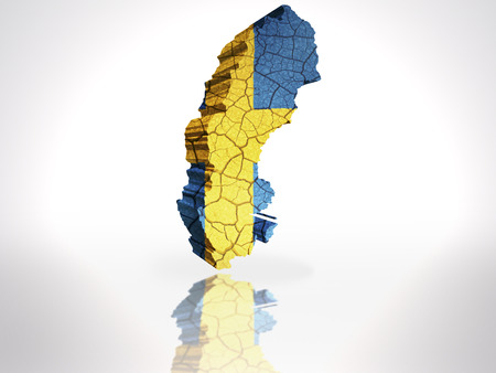 Map of Sweden with Swedish Flag on a white background photo