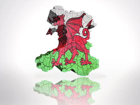 welsh flag: Mappa di Galles con gallese bandiera su uno sfondo bianco Archivio Fotografico