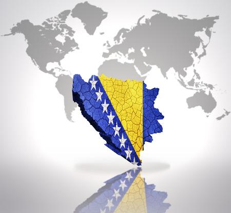 bosnian: Map of Bosnia and Herzegovina with Bosnian Flag on a world map background Stock Photo