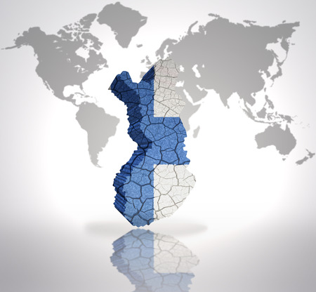 finnish: Map of Finland with Finnish Flag on a world map background Stock Photo