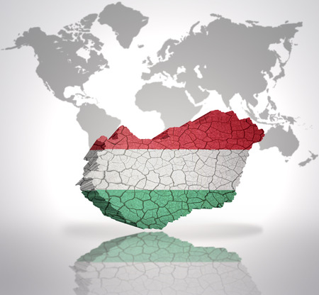 Word hungary with hungarian flag on a world map background stock 32714953 map of hungary with hungarian flag on a world map background gumiabroncs Choice Image