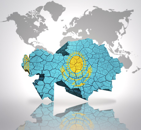 Map of kazakhstan with kazakh flag on a world map background stock map of kazakhstan with kazakh flag on a world map background stock photo picture and royalty free image image 32715075 gumiabroncs Images