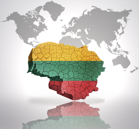 Map Of Lithuania With Lithuanian Flag On A World Map Background