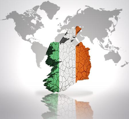 irish map: Map of Ireland with Irish Flag on a world map background