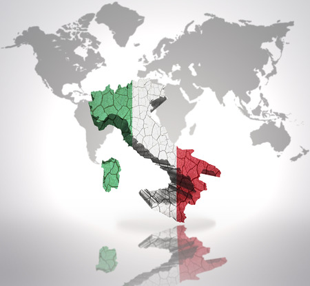 Map Of Italy With Italian Flag On A World Map Background Stock Photo ...