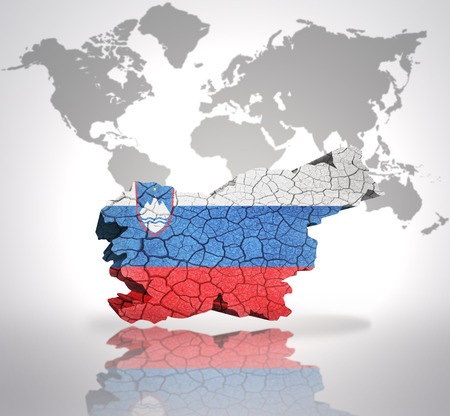 slovenian: Map of Slovenia with Slovenian Flag on a world map background Stock Photo