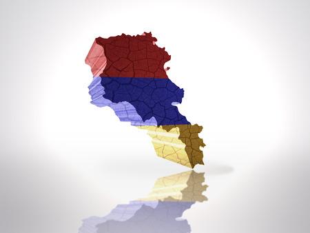armenian: Map of Armenia with Armenian Flag on a white background