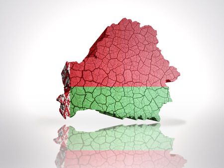 belorussian: Map of Belarus with Belorussian Flag on a white background